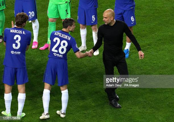 Manchester City manager Pep Guardiola and Chelsea's Cesar Azpilicueta shake hands after the final whistle during the UEFA Champions League final...