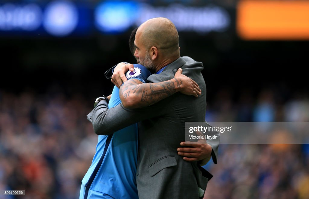 Manchester City manager Pep Guardiola and Gabriel Jesus.