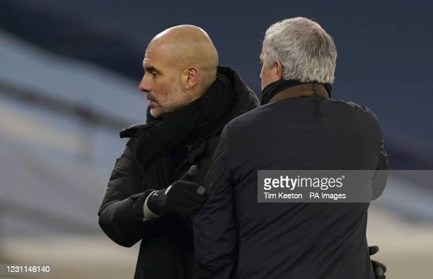 Manchester City manager Pep Guardiola and Tottenham Hotspur manager Jose Mourinho at the final whistle after the Premier League match at the Etihad...