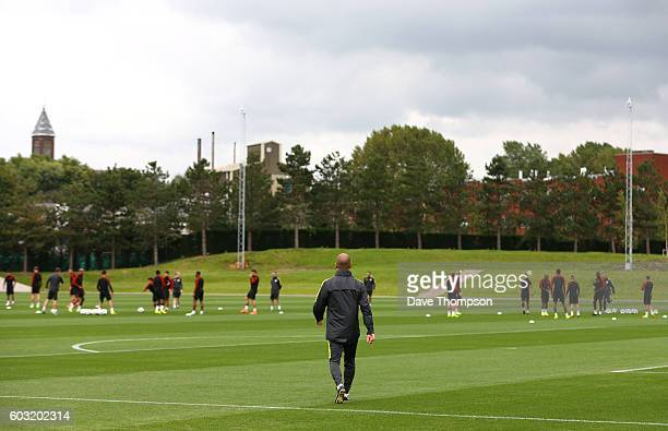 Manchester City manager Pep Guardiola arrives for a training session ahead of the UEFA Champions League match between Manchester City and VfL...