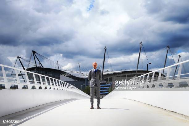 Manchester City manager Pep Guardiola during a photo call outside the City Football Academy Manchester