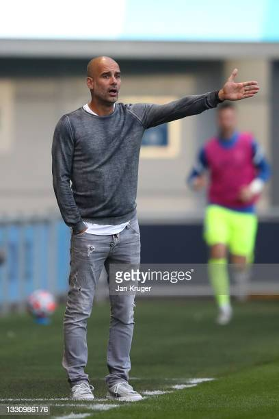 Manchester City manager Pep Guardiola during a pre-season friendly match between Manchester City and Preston North End at Manchester City Football...