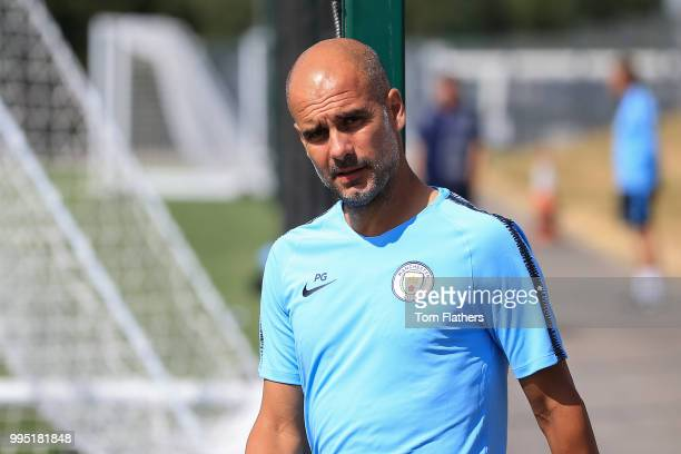 Manchester City manager Pep Guardiola during training at Manchester City Football Academy on July 10 2018 in Manchester England