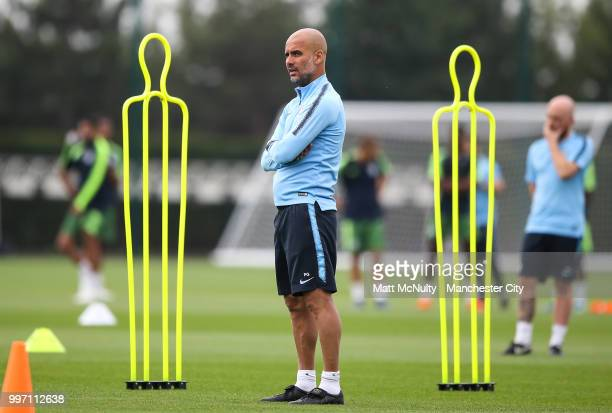 Manchester City manager Pep Guardiola during training at Manchester City Football Academy on July 12 2018 in Manchester England