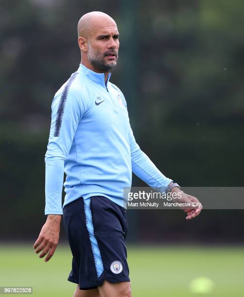 Manchester City manager Pep Guardiola during training at Manchester City Football Academy on July 13 2018 in Manchester England