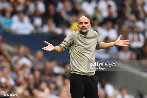 Manchester City manager Pep Guardiola gestures during the Premier League match between Tottenham Hotspur and Manchester City at Tottenham Hotspur...