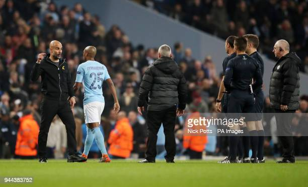 Manchester City manager Pep Guardiola gestures to Referee Antonio Miguel Mateu Lahoz during the UEFA Champions League Quarter Final at the Etihad...