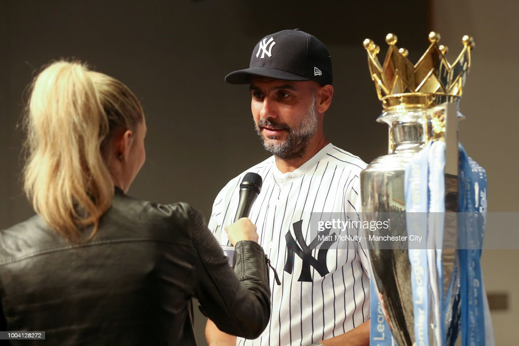 Manchester City Manager Pep Guardiola Throws First Pitch at Yankee Stadium