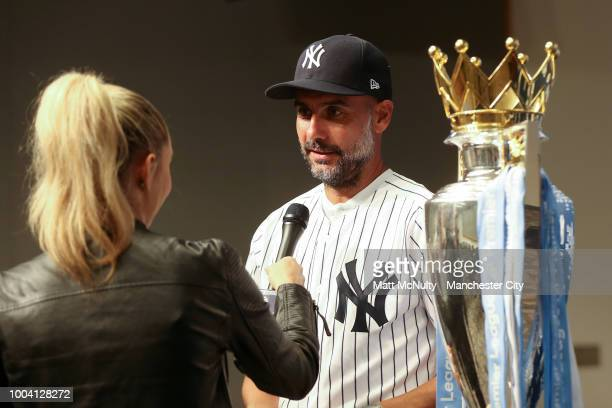 Manchester City manager Pep Guardiola is interviewed at Yankee Stadium on July 22 2018 in New York City
