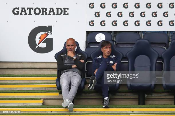 Manchester City manager Pep Guardiola looks on during a pre-season friendly match between Manchester City and Preston North End at Manchester City...