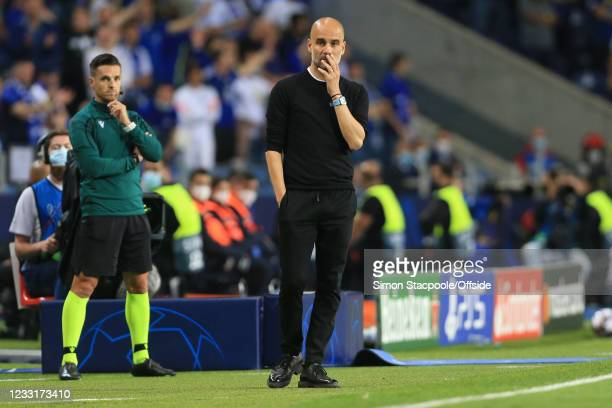 Manchester City manager Pep Guardiola looks worried during the UEFA Champions League Final between Manchester City and Chelsea FC at Estadio do...
