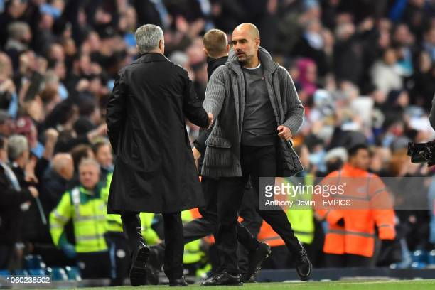 Manchester City manager Pep Guardiola shakes hands with Manchester United manager Jose Mourinho Manchester City v Manchester United - Premier League...