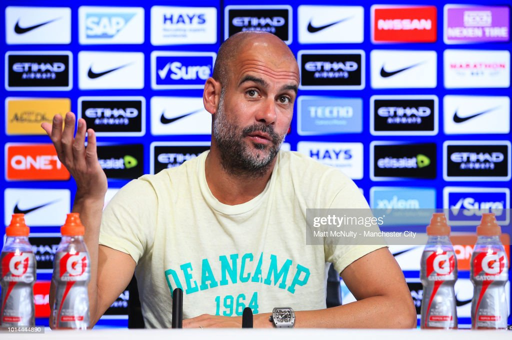 Manchester City manager Pep Guardiola speaks during the press conference at Manchester City Football Academy on August 10, 2018 in Manchester, England.