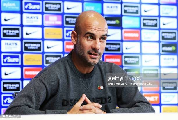 Manchester City manager Pep Guardiola speaks during the press conference at Manchester City Football Academy on November 2 2018 in Manchester England