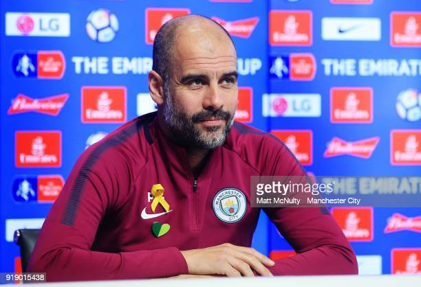 Manchester City manager Pep Guardiola speaks during the press conference at Manchester City Football Academy on February 16 2018 in Manchester England