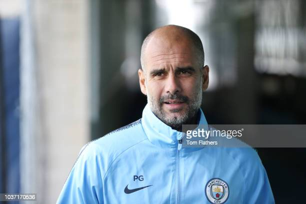 Manchester City manager Pep Guardiola during the press conference at Manchester City Football Academy on September 21 2018 in Manchester England