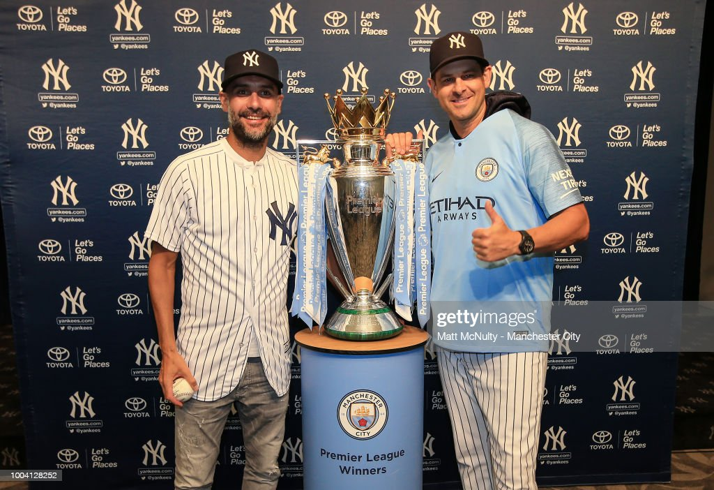 Manchester City Manager Pep Guardiola Throws First Pitch at Yankee Stadium : News Photo
