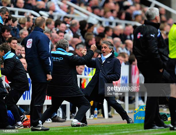 Manchester City manager Roberto Mancini celebrates the 2nd goal during the Barclays Premier league match between Newcastle United and Manchester City...