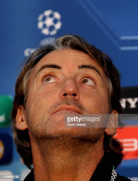 Manchester City manager Roberto Mancini during a press conference at Carrington Training Ground on September 13 2011 in Manchester England