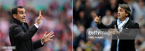 Manchester City Manager Roberto Mancini gestures to his players during the Barclays Premier League match between Manchester City and Sunderland at...