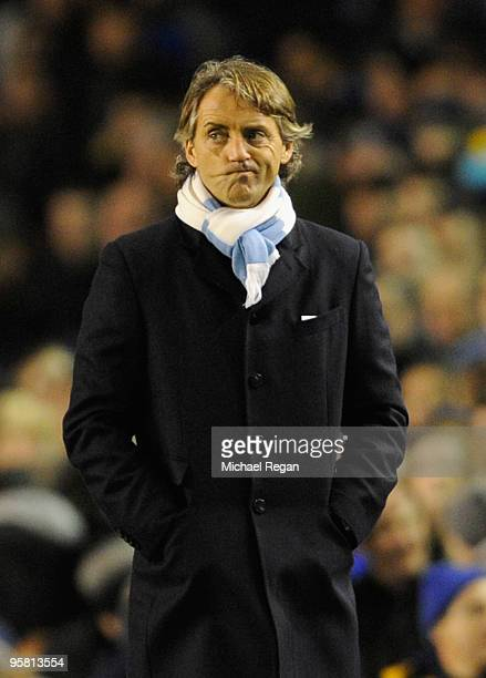 Manchester City Manager Roberto Mancini looks on during the Barclays Premier League match between Everton and Manchester City at Goodison Park on...