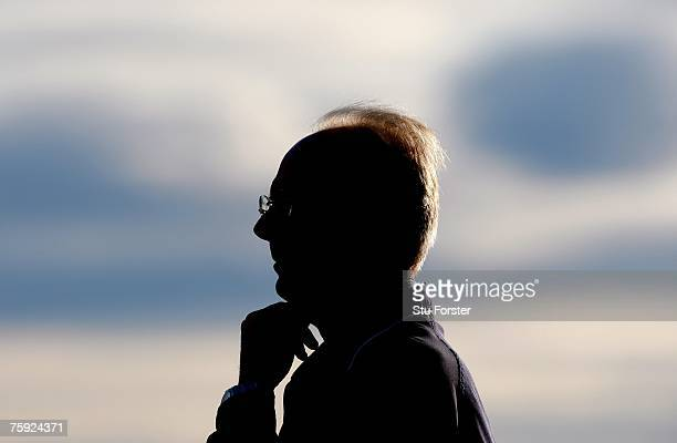 Manchester City Manager Sven Goran Eriksson looks on before the Friendly match between Shrewsbury Town and Manchester City at the New Meadow on...