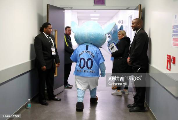 Manchester City Mascot Moonchester makes it's way to the pitch prior to the Women's FA Cup Final match between Manchester City Women and West Ham...