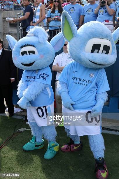 Manchester City mascots, Moonbeam and Moonchester at the game between Manchester City and Tottenham Hotspur. Manchester City defeated Tottenham by...