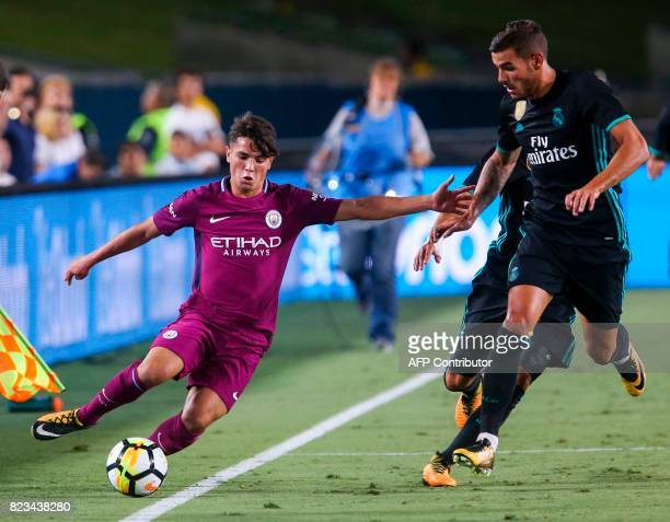 Manchester City midfielder Brahim Diaz vies the ball against Real Madrid during the second half of the International Champions Cup match on July 26...