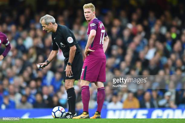 Manchester City midfielder Kevin de Bruyne during the Premier League match between Chelsea and Manchester City at Stamford Bridge London England on...