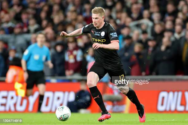 Manchester City midfielder Kevin de Bruyne in action during the Carabao Cup Final between Aston Villa and Manchester City at Wembley Stadium London...
