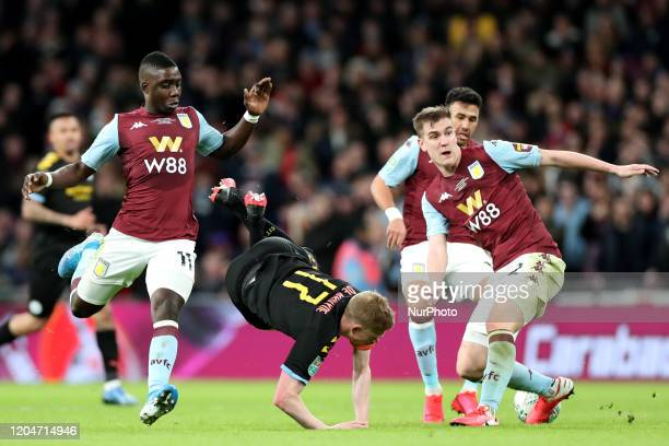 Manchester City midfielder Kevin de Bruyne takes a tumble during the Carabao Cup Final between Aston Villa and Manchester City at Wembley Stadium...