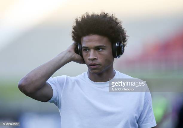 Manchester City midfielder Leroy Sane is seen prior to the International Champions Cup match between Real Madrid and Manchester City on July 26 2017...