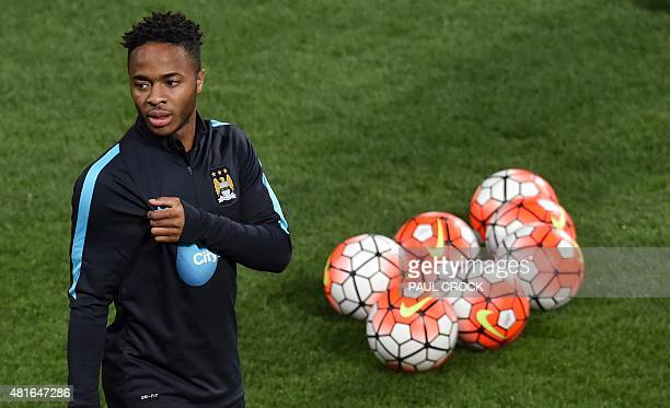 Manchester City midfielder Raheem Sterling warms up for a team training session during the International Champions Cup football tournament in...