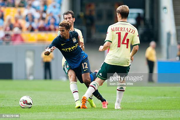 Manchester City midfielder Scott Sinclair is tripped up during the second half of the International Champions Cup soccer match between Manchester...