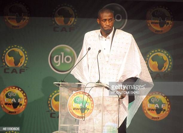 Manchester City midfielder Yaya Toure speaks after being declared winner of CAF African Footballer of the Year Award in Lagos on January 9 2014The...