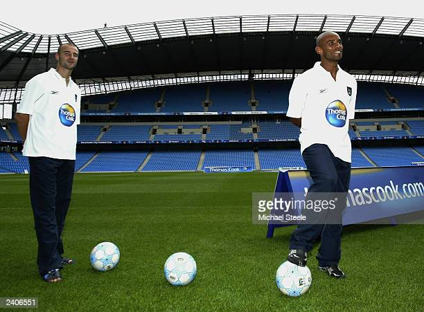 Manchester City new signings Antoine Sibierski and Trevor Sinclair at the unveiling of Manchester City's new players and three year sponsorship deal...