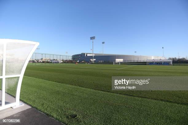 Manchester City New Training Ground, The City Football Academy, Manchester, One of the pitches look over the central training facility
