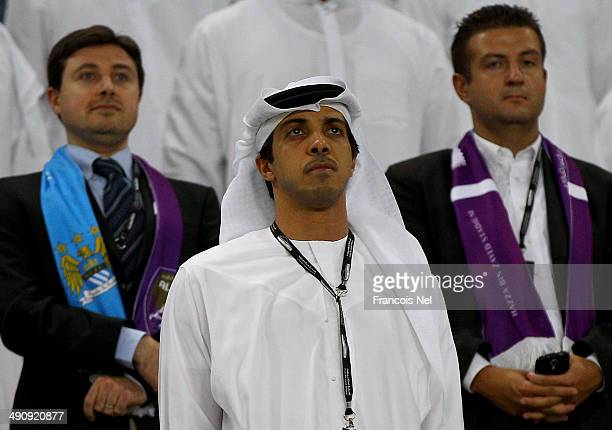 Manchester City owner Sheikh Mansour bin Zayed Al Nahyan are pictured during the friendly match between Al Ain and Manchester City at Hazza bin Zayed...