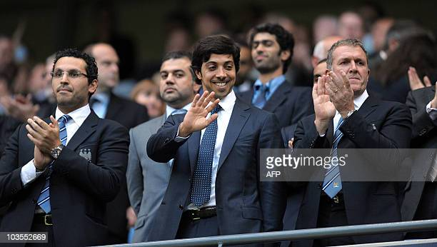 Manchester city owner Sheikh Mansour bin Zayed Al Nahyan looks on during the English Premier League football match against Liverpool at The City of...