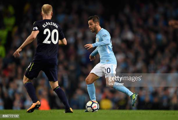 Manchester City player Bernardo Silva in action during the Premier League match between Manchester City and Everton at Etihad Stadium on August 21...