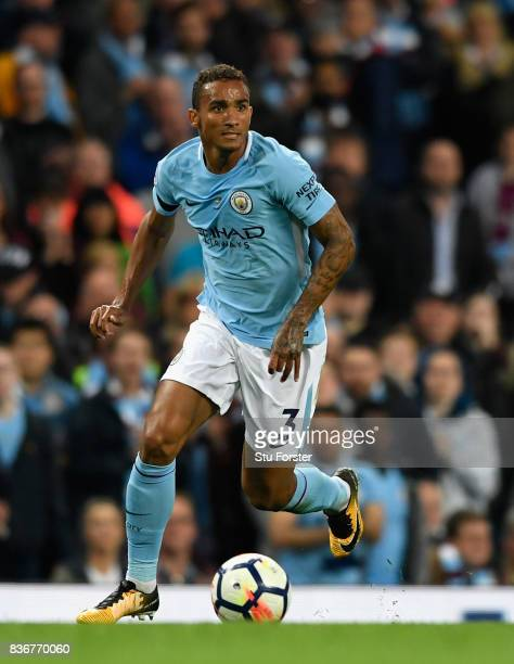Manchester City player Danilo in action during the Premier League match between Manchester City and Everton at Etihad Stadium on August 21 2017 in...