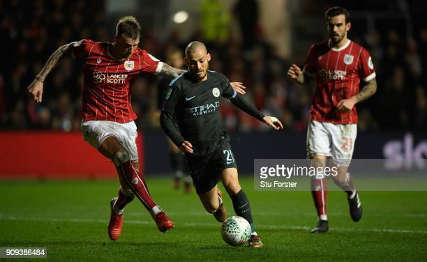 Manchester City player David Silva in action during the Carabao Cup SemiFinal Second Leg match between Bristol City and Manchester City at Ashton...