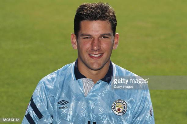 Manchester City player David White pictured at the 1991/92 pre season photocall at Maine Road Manchester