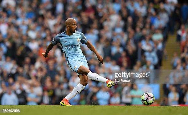 Manchester City player Fabian Delph in action during the Premier League match between Manchester City and Sunderland at Etihad Stadium on August 13...