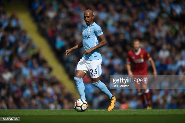 Manchester City player Fernandinho during the Premier League match between Manchester City and Liverpool at Etihad Stadium on September 9 2017 in...
