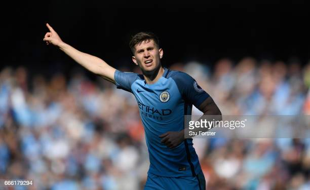 Manchester City player John Stones in action during the Premier League match between Manchester City and Hull City at Etihad Stadium on April 8 2017...
