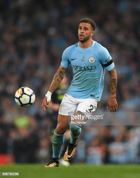 Manchester City player Kyle Walker in action during the Premier League match between Manchester City and Everton at Etihad Stadium on August 21 2017...