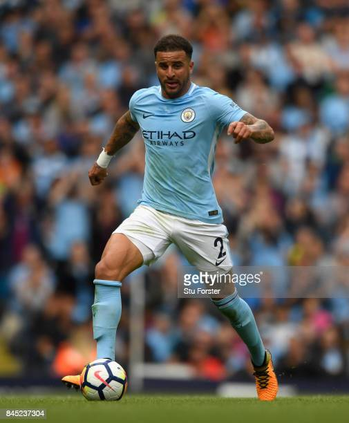Manchester City player Kyle Walker in action during the Premier League match between Manchester City and Liverpool at Etihad Stadium on September 9...