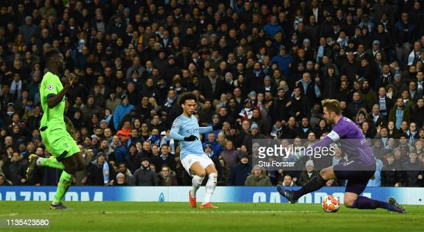 Manchester City player Leroy Sane scores the 3rd goal during the UEFA Champions League Round of 16 Second Leg match between Manchester City v FC...